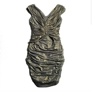 Tadashi Shoji Women Cocktail Dress Gold M Jeweled